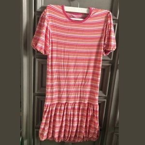 Kickee pants pink stripe bubble dress